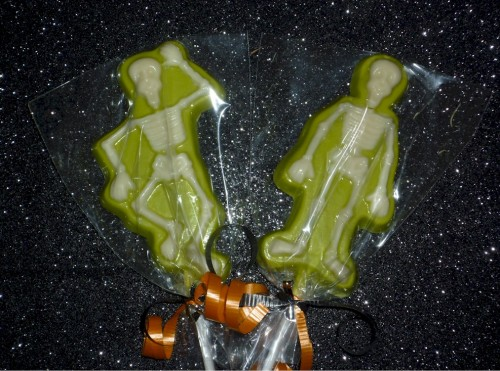 Skeleton Halloween Solid Chocolate Lollipops Party Favor Set of 6